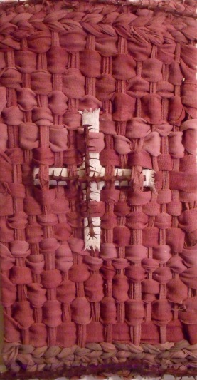 Ace bandages found on the desert, dipped in cochineal and woven with Ocotillo and rose madder encaustic.
