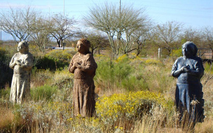 Las Madres: No Mas Lagrimas Public Memorial, Pima Community College, Tucson, AZ, Denim, kahki, burlap, plaster, steel, 2005-2018