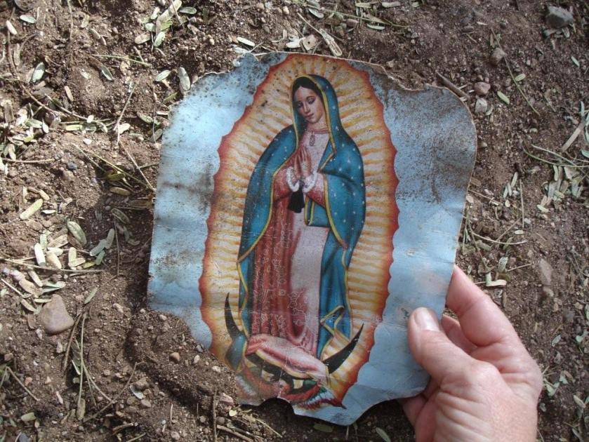 Guadalupe prayer card found in the Desert
